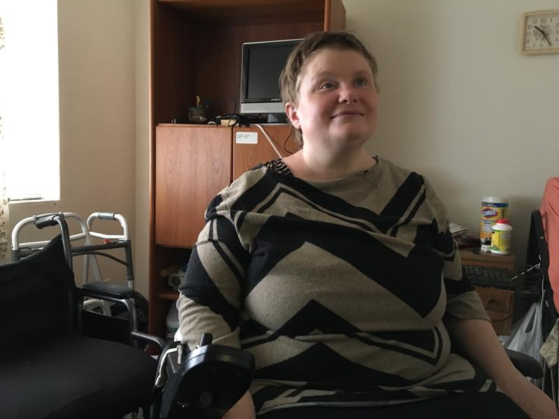 Sarah Howe, who is blind and uses a wheelchair, is searching for a new apartment after her landlord gave her notice to vacate