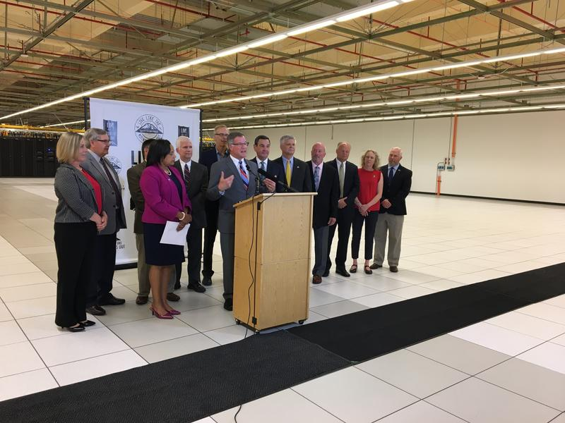 Pierce County leaders gathered in a Centeris data center in Puyallup for a news conference on May 22, 2018