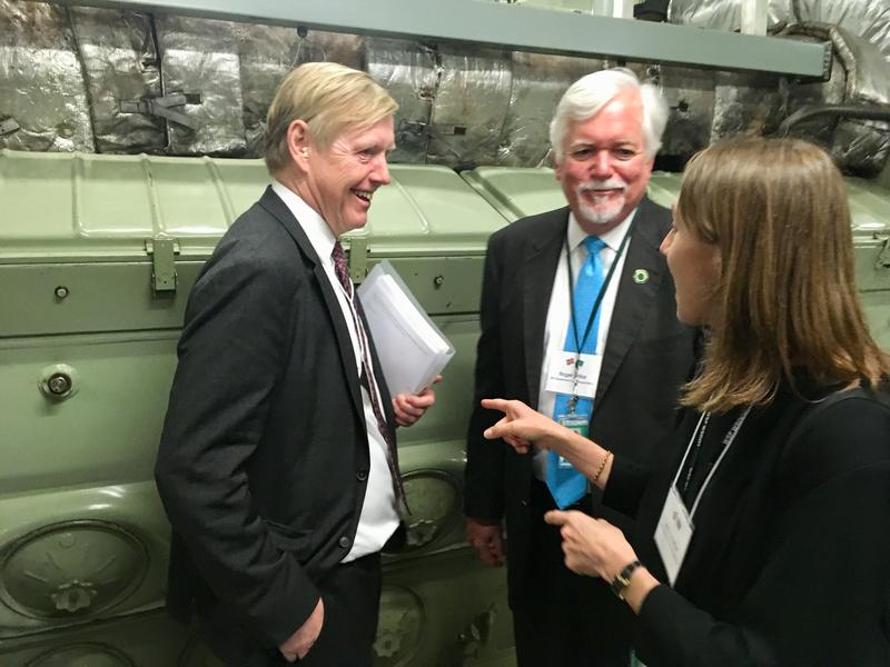 Norway's ambassador to the United States, Kore Aas, with Wash State Secretary of Transportation Roger Millar and State Ferries Director Amy Scarton. The diesel engine behind them is to be replaced with batteries.