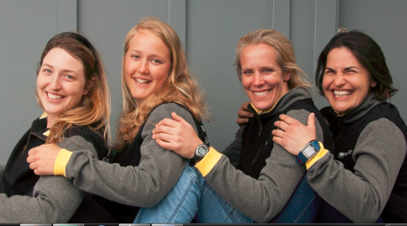 Eliza Dawson, second from left, with her teammates in the Ripple Effect crew that will row from California to Hawaii in the Great Pacific Race this June.