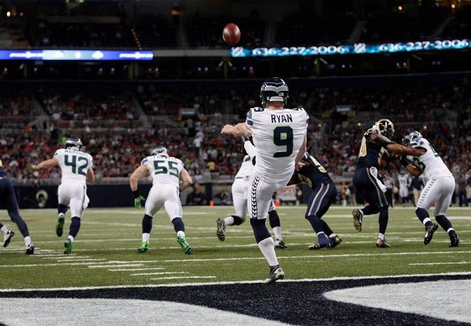 Kicked out? Seahawks punter Jon Ryan punts from the goal line.