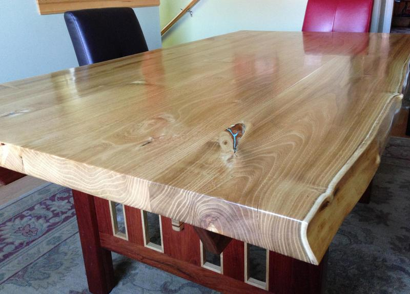 Nancy's dream table made from a neighbor's Black Locust tree.