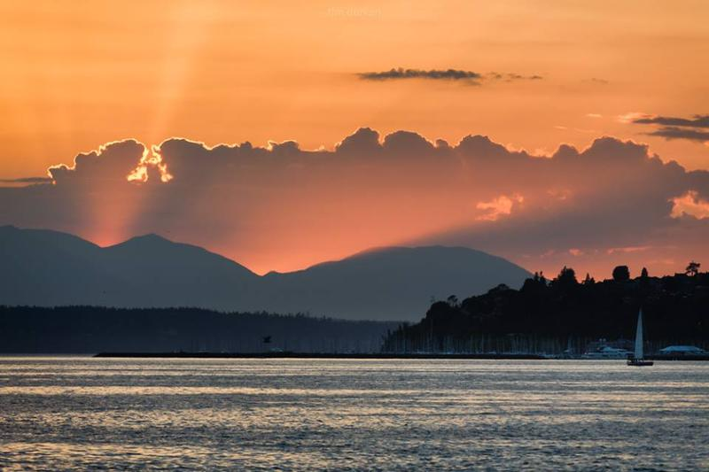 The sunset near Seattle's Shilshole Bay as cool marine air surges in on May 23rd, 2018.