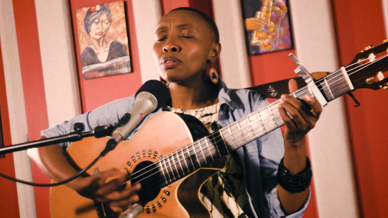 Naomi Wachira in the KNKX performance studio.