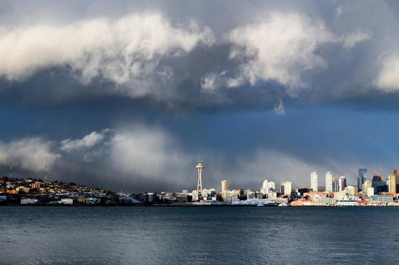 Moody skies over Seattle on February 25, 2018.