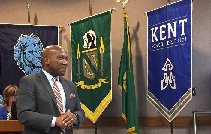 Superintendent Calvin Watts at an April 25, 2018, school board meeting