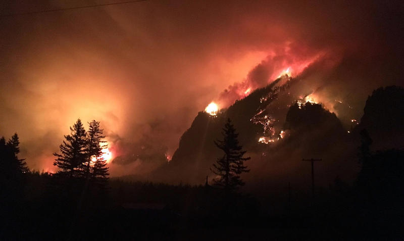 This Sept. 4, 2017, photo provided by Inciweb shows a wildfire burning in the Columbia River Gorge east of Portland, Ore.