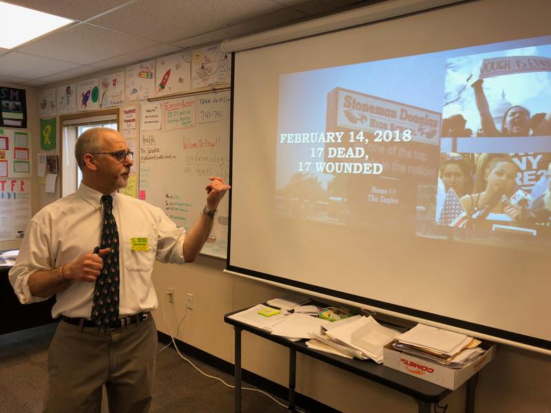 Dr. Gregory Engel recently gave a presentation on gun safety to a freshman health class at Roosevelt High School.