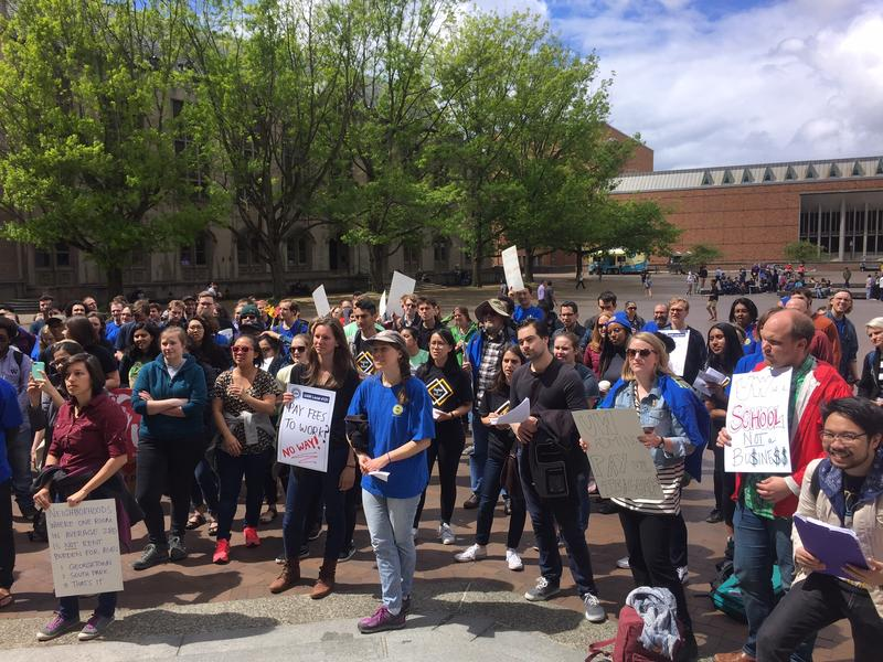 UW academic student employees at a rally in May