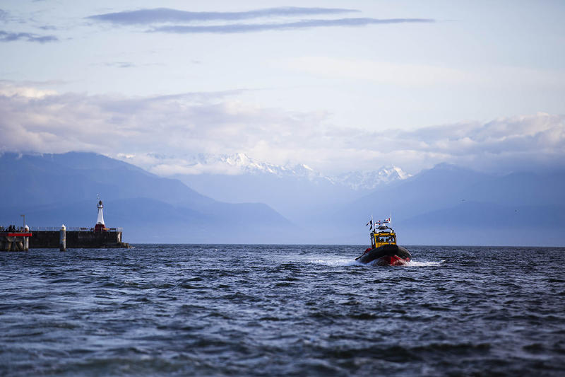 Royal Canadian Marine Search and Rescue heading into Victoria Harbor for a training exercise Wednesday evening.