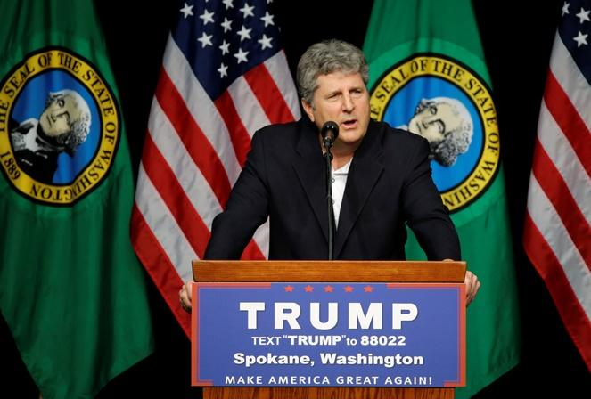 Mike Leach head football coach at Washington State University, speaks in support of Republican presidential candidate Donald Trump during a rally in Spokane, Wash., Saturday, May 7, 2016.