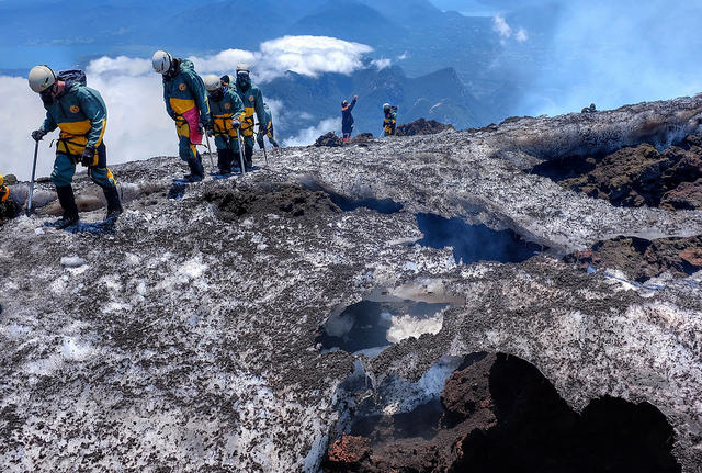 Hikers on Volcán Villarrica, in Chile, in December of 2015. The volcano had just opened to climbers, after a March 2015 eruption.