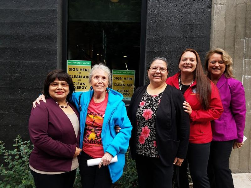 First American Project board members in Seattle. From right: President Fawn Sharp, Quinault Indian Nation; Theresa Sheldon, Tulalip Tribes; Chairwoman Frances Charles, Lower Elwha Klallam Tribe; Ramona Bennett, Puyallup Tribe; Estela Ortega.