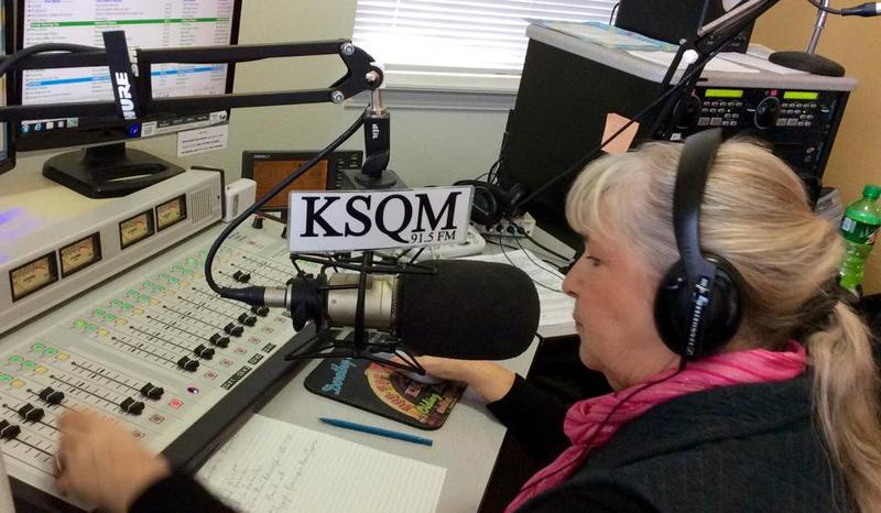 Florence Larsen, on the mic at KSQM in Sequim. The station is staffed entirely by volunteers -- from the DJs to top mangement.