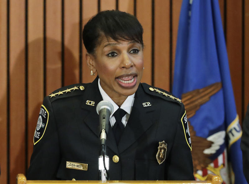 In this file photo taken June 6, 2018, Seattle Interim Police Chief Carmen Best speaks during a news conference in Kent, Wash. Best was picked by Seattle Mayor Jenny Durkan on Tuesday, July 17, 2018, to lead the department on a permanent basis.