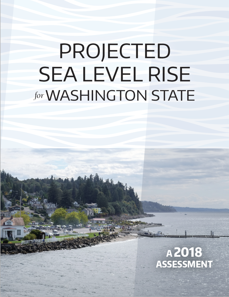 The cover image and title of the new report on sea level rise.