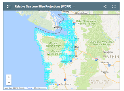 The new report combines sea-level rise projections with specific geologic land motion at 171 sites along Washington's coast.