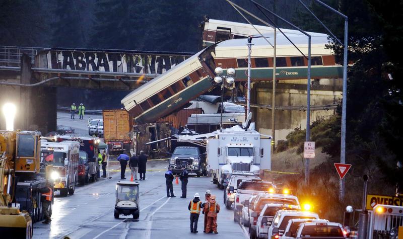 An Amtrak train spilled off an I-5 overpass near DuPont on Dec. 18, 2017