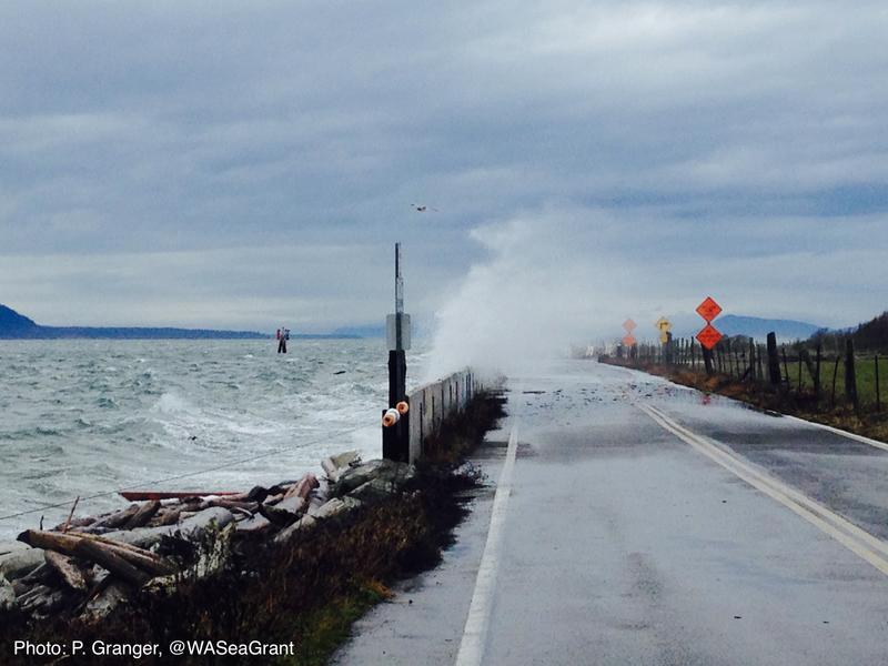 A storm surge on Lummi Island in Washington state.