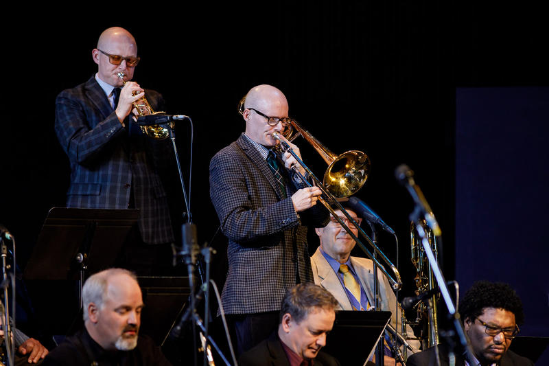 Thomas Marriott (trumpet) and David Marriott, Jr. (trombone) solo with the Centrum All Star Big Band