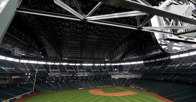 Safeco Field is shown with its retractable roof extended.