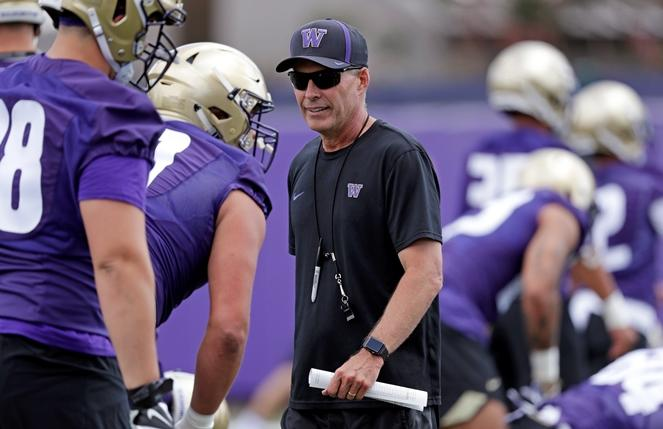 Washington head coach Chris Petersen walks on the field during a team football practice Friday, Aug. 3, 2018, in Seattle.
