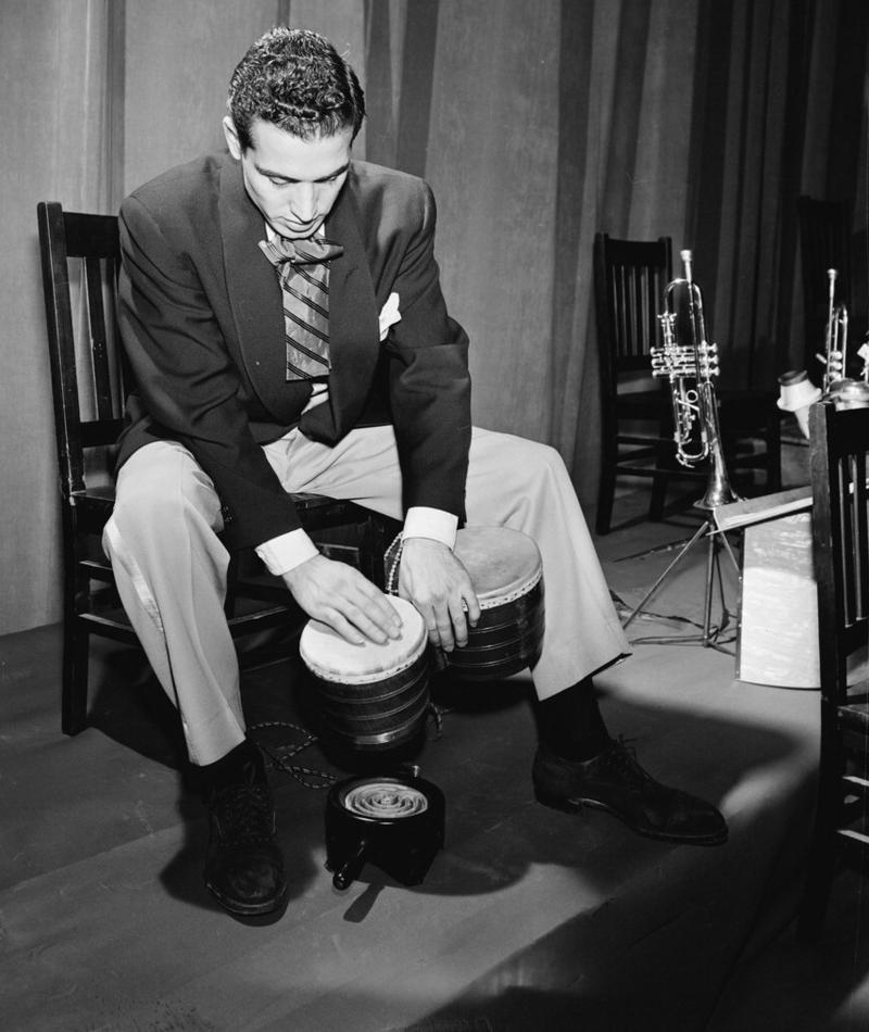 Jack Costanzo with bongos, 1947 or 1948, probably with Stan Kenton's Orchestra