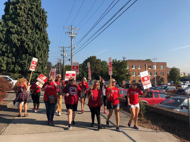 Teachers in Tacoma picketed outside the central administration building on the first day of the strike, Sept. 6.