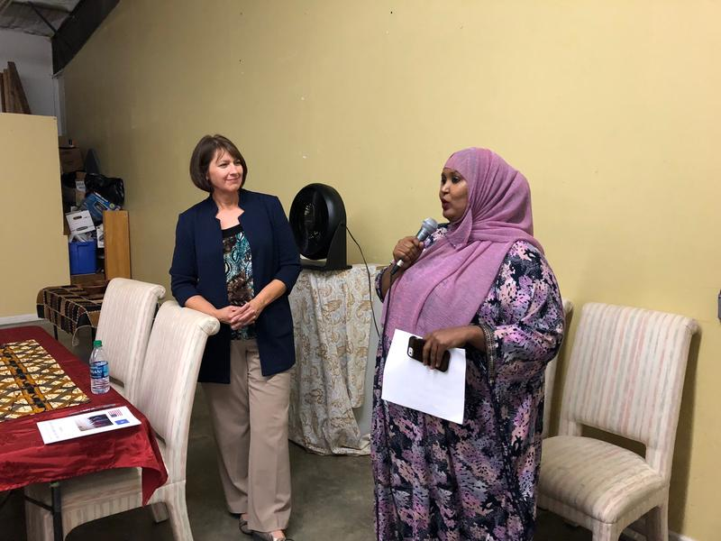 Seattle Superintendent Denise Juneau (left) and Hodan Mohamed, vice president of the Seattle Special Education PTSA