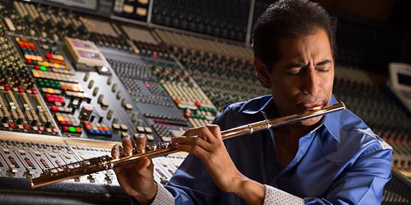 Flautist Nestor Torres in the studio