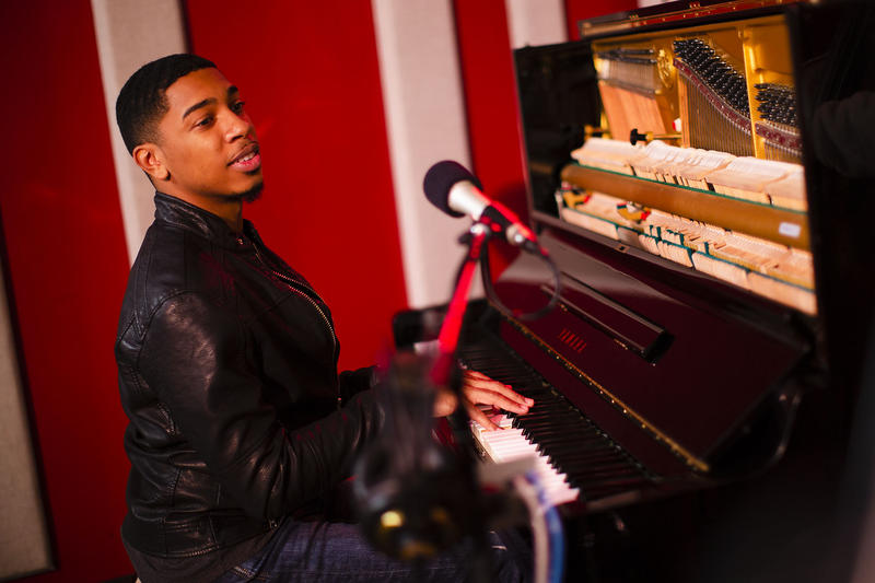 Christian Sands in the KNKX Studios.