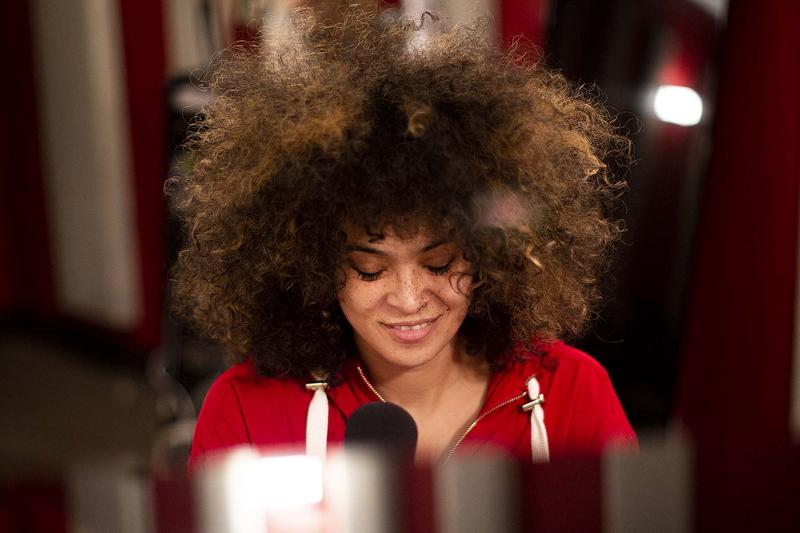Kandace Springs in the KNKX Seattle Studios.