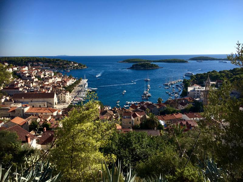 Looking at Hvar, and its harbor, in the Dalmatia region of Croatia.