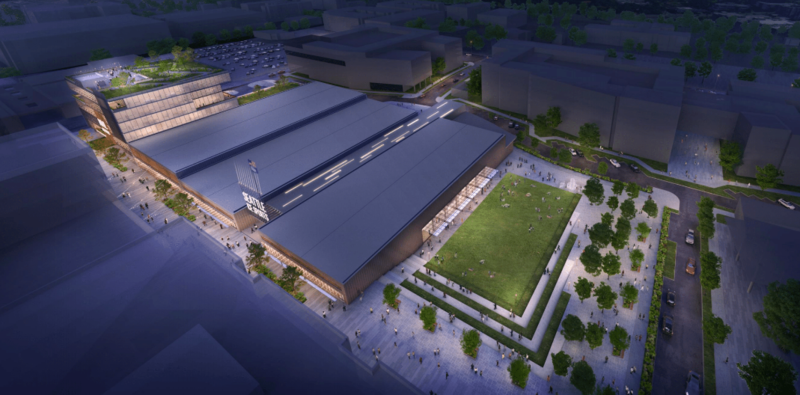 The proposed Northgate Mall home for Seattle's NHL team includes a five-story office building (left) and three separately housed ice rinks for team and public use.