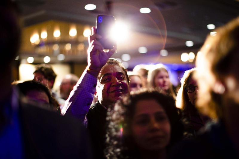 Crowds celebrate as results roll in on election night 2018, Nov. 6.