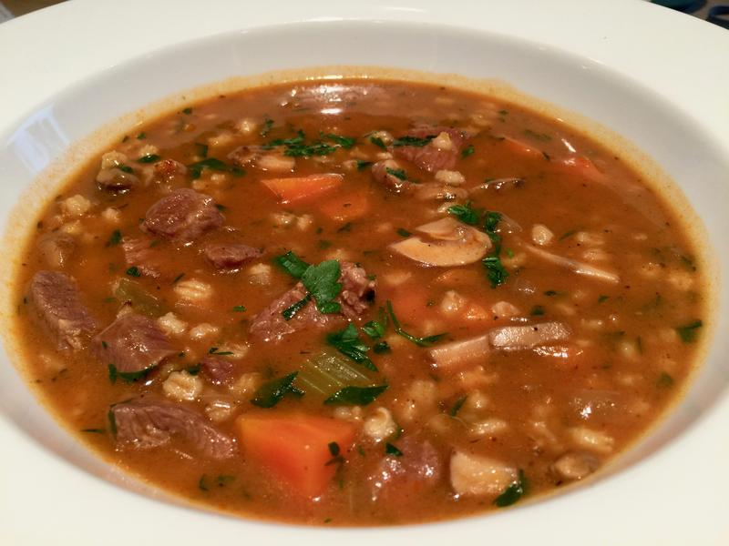 Nancy made this Beef Barley soup from a Serious Eats recipe linked below