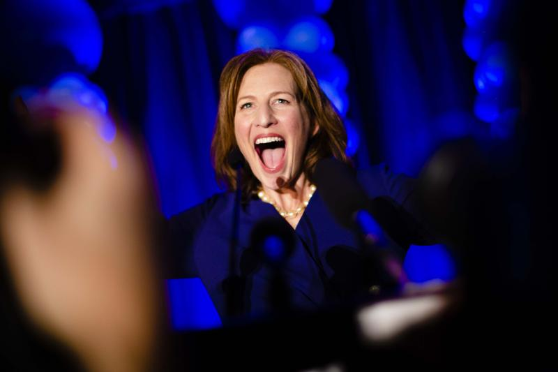 Kim Schrier celebrates her lead in the 8th Congressional District race, during the Democratic party in Bellevue on election night Nov. 6, 2018.