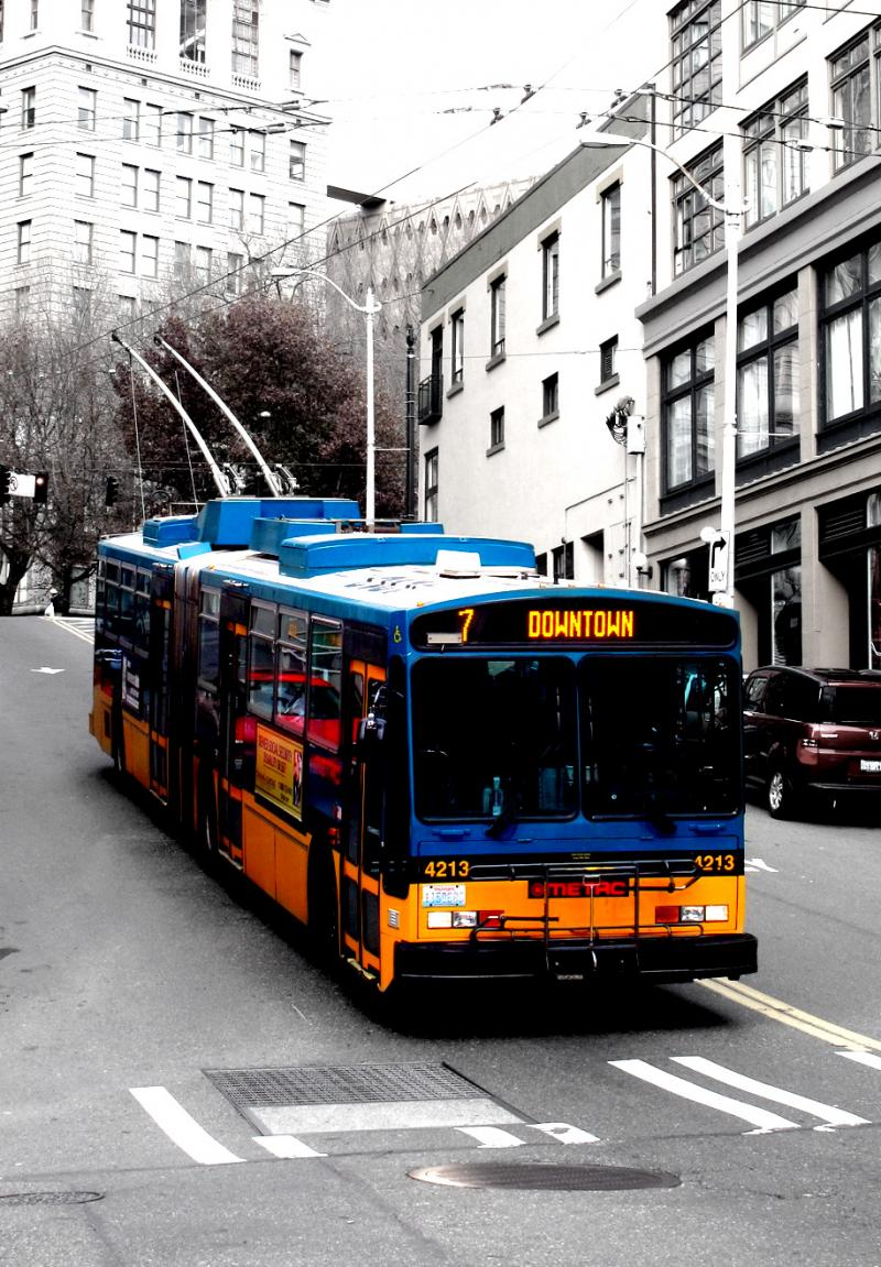 Metro bus in downtown Seattle