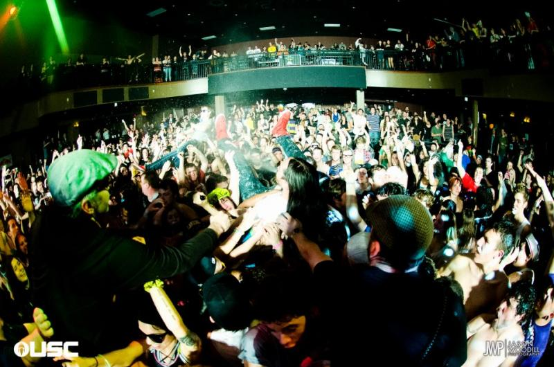 Newport Beach based DJ Steve Aoki crowd surfing at The Knitting Factory during his DEADMEAT! tour.