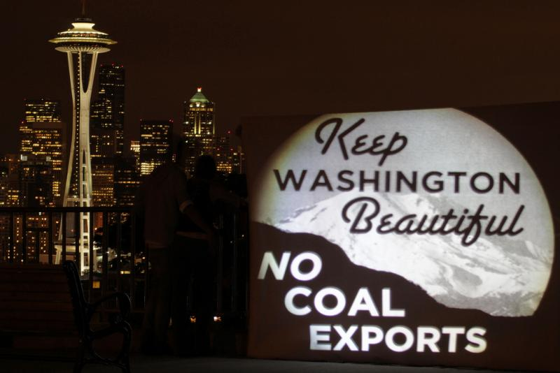 On September 14, 2011, activists projected anti-coal light banners on iconic Seattle locations, such as Kerry Park, to elevate the profile of controversial proposed coal ports in the Pacific Northwest.