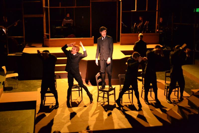 "Bryan Gula, center, and cast sing ""The Bitch of Living""  in Balagan Theatre's production of ""Spring Awakening."""