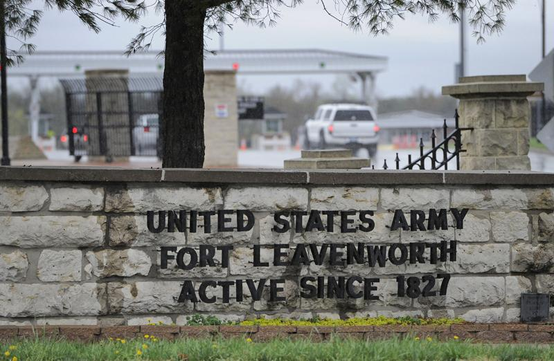 A car drives into the main entrance to the U.S. Army's Fort Leavenworth, in Leavenworth, Kan., on Monday.