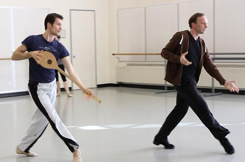 "Principal dancer Seth Orza (left) rehearses ""Apollo"" with artistic director (and former New York City Ballet dancer) Peter Boal at Pacific Northwest Ballet in Seattle."