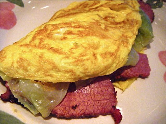A morning after restorative: Leftover corned beef omelette. Click the next pic for this week's Garlic Cam shot.