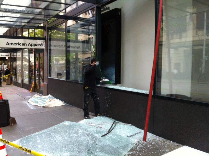 Damage from protesters in downtown Seattle during May Day 2012.