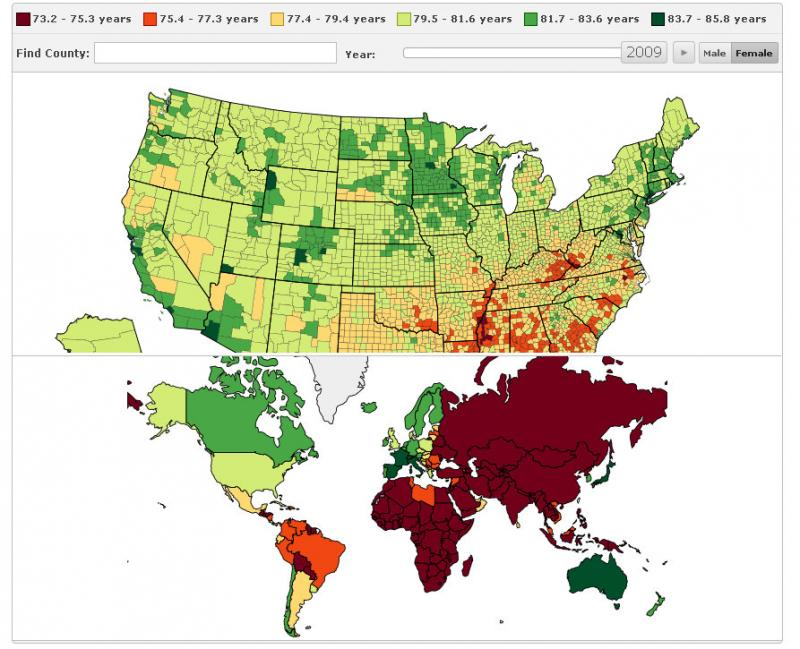 In this screen grab from the IHME website, you can see some lifespan comparisons of women in 2009. Go to the Institute's website to interact with this and other graphics to learn more.