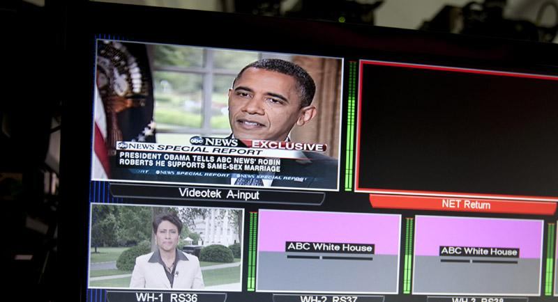 President Barack Obama is seen on a monitor in the White House briefing room in Washington, Wednesday, May 9, 2012. President Barack Obama told an ABC interviewer that he supports gay marriage.