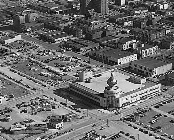Aerial view looking toward the southwest, showing the globe's neighborhood in 1953 ( MOHAI 1986.5.8878)