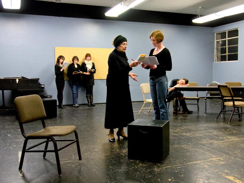 Ruth McRee (in the foreground, on the left) as Bernarda and Colleen Carey as Angustias rehearse for Frederico Garcia Lorca's 'The House of Bernarda Alba,' which will play May 4-19 at The Ballard Underground in Seattle.