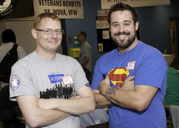 "Seattle Central Student Veterans Association leaders Aaron Scheuerman and Adam Horton helped organized a ""Stand Down"" event on campus."